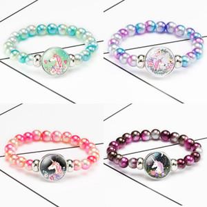 Unicorn Rainbow Beads Bracelets For Kids Girls Colorful Acrylic Bead Bracelet Children Cartoon Bracelets Party Jewelry Gifts 64 K2