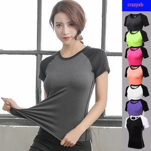 النساء اليوغا تانك قصيرة الأكمام للياقة البدنية اليوغا قميص جاف سريعة رياضي الجري الرياضية الصدرية تجريب T قميص