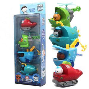 4 adet / takım Octonauts Rakam Oyuncaklar Octonauts Araba Kaptan Barnacles Kwazi Bebek Çocuk Noel Hediye 201202