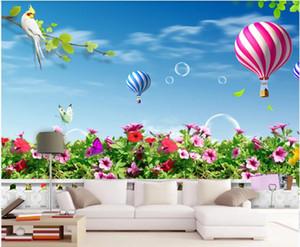 صورة مخصصة جدارية 3D خلفية جميلة الخيال العشب الساخن مشهد منطاد الهواء ديكور المنزل ورقة 3D muals الجدار الجدار للجدران 3 د على شكل لفائف