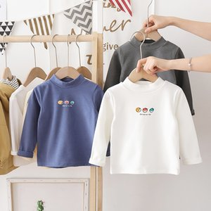 Children's T-shirt Spring and autumn Sleeved T Children's jacket with high collar 2021 New Children's autumn wear baby primer DE Velvet