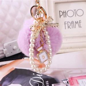 US STOCK Fashion Pearl Chain Crystal Bottle Bow Pompom Keychain Car Women handBag Key Chain Ring Fluffy Puff Ball Keychains Jewelry