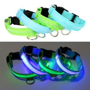 LED Pet Dog Collar Dog Flashing Leash Nylon Glow In The Dark Blue Green Night Safety Pet Products Supplies
