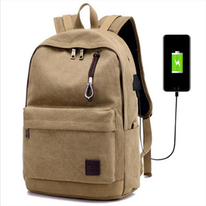 Laptop Backpack men 2017 Fashion Canvas Travel Business School Bags for teenagers Backpack USB Charging Waterproof zipper bags