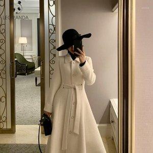 Winter coréen populaire d'eau haut de gamme ondulée ondulée de laine ondulée 2020 mode long peignoir style 100% laine veste manteau femmes1