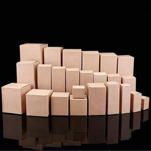 100 piezas pequeñas cajas marrones, Papel Kraft Cosméticos Caja para el tubo / máscara / aceite esencial, Delineador de ojos / rímel Caso # Paquetes jQhA