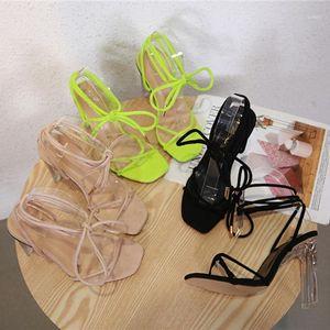 2021 Fashion Women Roman Sandals Designer Neon Green Cross Belt Crystal Heels Sandals Sexy Prom Stripper Nightclub Ladies Shoes1