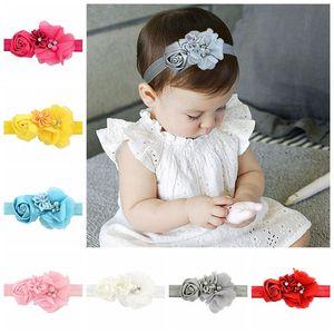Colorful Girls Rose Fleurs Fleurs Ruban de fleur chic avec perles Élastic Bands Hair Accessoires 609 Q WMTIFD