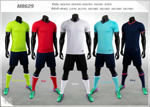M8629 Blank Team Set 2020-2021 Adult Kids Soccer Jersey Set Football Kit Men Children Futbol Training Uniforms Customized