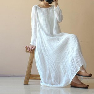 Bohemian Long Dress Women Transparent Casual Loose Summer Beach White Sundress Long Sleeve Maxi Solid Vestidos Robe Plus Size