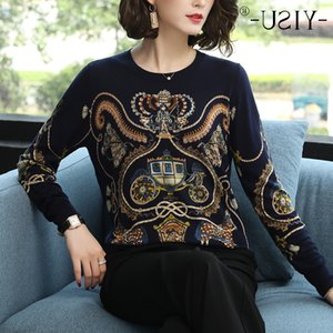 Yisu Top Adorável carro abóbora impressão camisola de malha 2019 Primavera Casual Outono solto Moda Pullover Mulheres Jumper