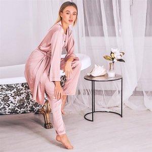 Robe satin rose hiloc Ensembles hiver 3 pièces Ensemble de soie vêtement de nuit femmes pyjama avec pantalons Sashes Costumes à manches longues Ensembles Home Wear 201105