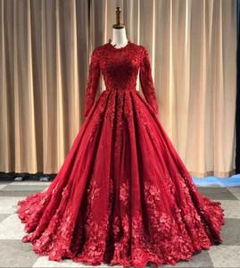 Высокое шею красное шариковое платье арабские свадебные платья с длинными рукавами кружева тюль скромные цветные свадебные платья не белый заказ