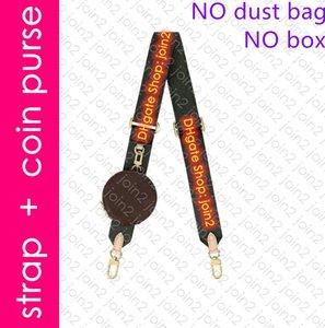 J02493 BANDOULIER Adjustable Nylon Jacquard Shoulder Strap with Round Coin Purse Mini Multi Pochette Accessoires Key Pouch Cles Bag Charm