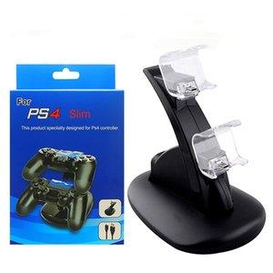 LED المزدوج شاحن حوض جبل USB شحن موقف لبلاي ستيشن 4 PS4 PS4 الموالية إكس بوكس واحد الألعاب تحكم لاسلكي مع صندوق البيع بالتجزئة ePacket