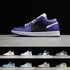 Hombre 1 zapatos de baloncesto Jumpman Low 1S Mujeres Banned Bred Chicago Black Toe Court Purple Pine Green UND Sombra Sneaker