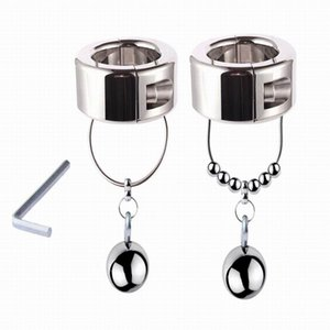 Height Heavy Penis Ring Chastity Device Stainless Steel Ball Pendant Scrotum Stretcher Cock Ring Metal Locking Male Sex Toys