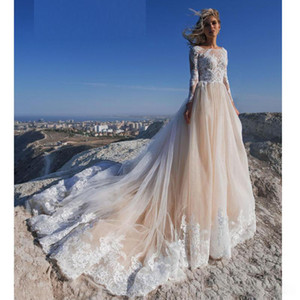 Beach Wedding Dresses 2021 A Line Lace Applique Jewel Neck Long Sleeve Boho Wedding Dress Sweep Train Custom Made Garden Bridal Gowns