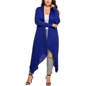 GAOKE New Large Size Coat Autumn Thin Long Jacket Solid Color Long Sleeve Outfits Irregular Cardigan Female Women's Clothing