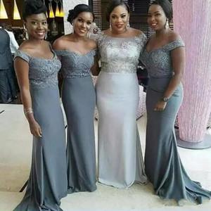 Vestidos de dama de honor largos de la sirena gris 2020 Nuevo Venta caliente Hot Hot-the-Hombro Lace Maid of Honor Dress Fiesta de boda Vestidos de baile B51