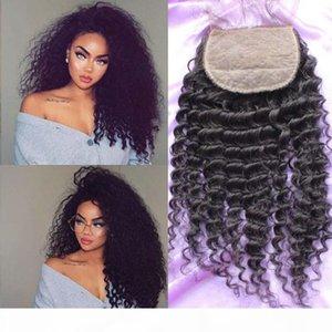 Expédition rapide Human Hair Silk Base de la soie Fermeture 4x4inch Deep Curly Silk Top Dentelle Fermeture de la dentelle avec bébé en stock