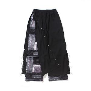 High Street Flor Breasted Botão Calças homens soltos Ampla perna reta Casual Side Pin Slit Baggy Trousers