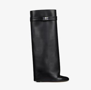 kutu ile deri SHARK KİLİDİ botlar kadın düz topuk Paris Klasik siyah sivri sığır derisi çizmeler lüks Kilit mandalı Ayak bileği çizme
