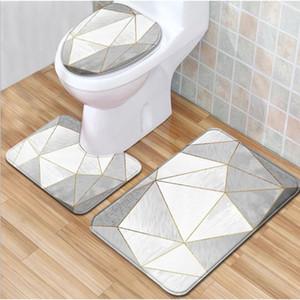 3pcs Toilet Cover Seat Non-Slip Soft Toilet Cover Bath Mat Bathroom Accessories Kitchen Carpet Doormat Home Decoraction Tool