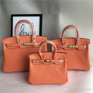 AAAAAAAA++++++ Top Quality Distinctive Ostrich Popular Grain Handbag Lading Shoulder Bags Span Birking Genuine Leather Woman Package Orange