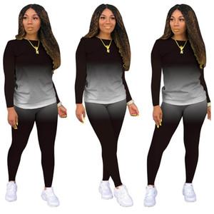 Imcute Two Piece Set Women Fashion Gradient Print Bodycon Tracksuit Long Sleeve Top + Biker Joggers Pants Outfits Matching Set