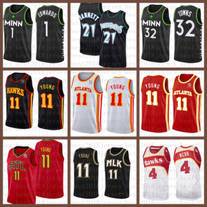 2021 Neues Basketball-Jersey MinnesotaTimberwolvesAtlantaHawk Mens 21 Garnett 1 Edwards 32 Städte 11 Junge 4 Webb Braun