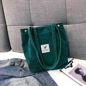 2020 New Shoulder Bags For Women Corduroy Shopper Tote Ladies Casual Handbag Foldable Reusable Shopping Bags bolsos para mujer