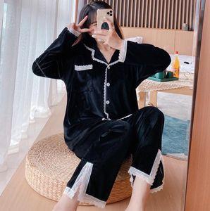 Classic Fashion Winter Brand Sleepwear Women Designer Pajamas Warm Thick Nightwear Gold Velvet Sleepwear Home Wear M-2XL