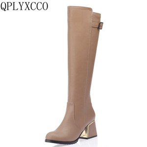 QPLYXCO Sale Fashion New Super Big &small Size 30-54 long Boots Winter warm Women knee the Boots High quality shoes A18