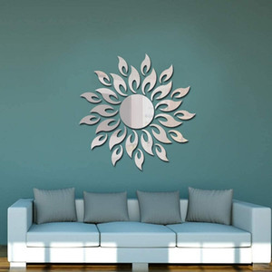 2 Pieces Removable Mirror Wall Stickers Sun Flower Shape Wall Decals for DIY Home Decorations Wall Decor
