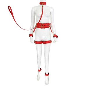 Adjustable Leather Toy Tool Set Legs Leader Handcuffs Restraint With Collar Metal Bondage Couple BDSM Slave Chain Sex Ankle Lock Y20061 Otji