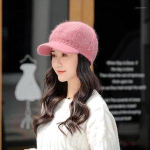 Зимняя теплая вязаная шляпа для женщин Флис Beanie Beret All-Match Sequins Шерстяные шапки Дамы теплые ухо защищены Шляпа козырек для Girls1