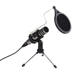 2020 Multifunctional Condenser Microphone Recording Microphone Kit 3.5mm Mobile Phone Computer Karaoke Voice Microphone with Tripod