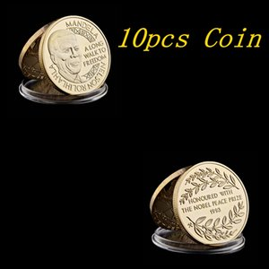 10pcs 1993 Nobel Peace Prize Winner Nelson Mandela South Africa President Gold Plated Commemorative Coin Value Collection