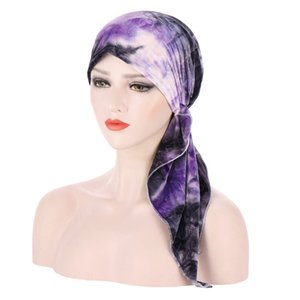 Muslim Velvet Turban Headwrap Hat for Women Tie-dye Print Chemo Beanies Caps Bandana Headscarf for Cancer Hair Accessories