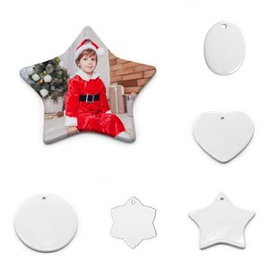 Christmas Pendant Blank White Sublimation Ceramic Pendant Heat Transfer Printing DIY Ceramic Ornament Heart Round Christmas Decor
