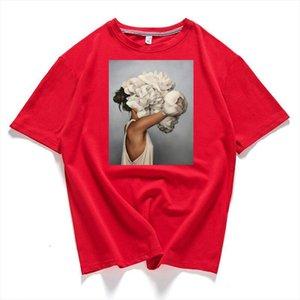 95% Cotton Bloom Flower Feather Women T shirt 2020 Summer Short Sleeve Round Neck Harajuku Printing Tee Casual Fashion Female