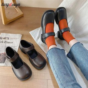 Women Flat autumn 2020 New Small Leather Shoes For Women's Day Series Lovely Round Head Lolita Retro Thick Heel Shoes For Women #RZ7D