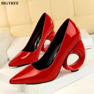 Classics Fretwork Heels Party Shoe New Patent Sood Solf Sohow Women Bumps Punta Punta Moda Tacones altos de las mujeres 10 cm Zapatos LJ200925