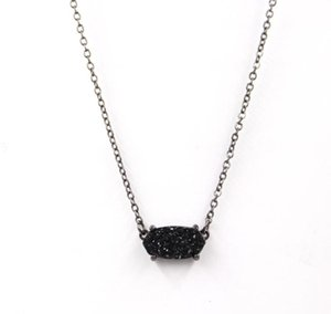 2020 New Fashion all black Small Oval Druzy Pendant Necklace for Women