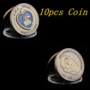 10pcs 1912 RMS Titanic Coração do Oceano Coin Medalha de Bronze esmalte azul do esmalte Grande navio coleção de moeda