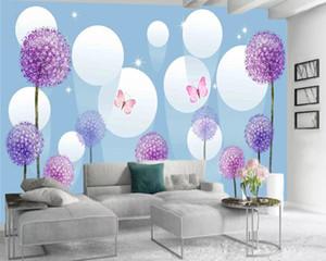 3d Modern Wallpaper Romantic Floral 3d Wallpaper White Float Ball Purple Dandelion 3d Wall Paper for Living Room Custom Photo