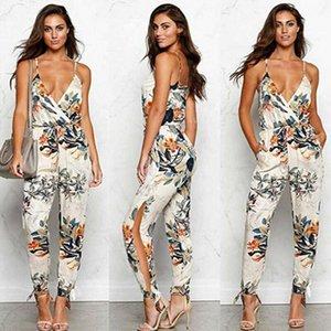 Tute femminili di modo Summer Summer Casual Solido senza maniche con scollo a V Slim Plus Size Linen Lace Up lungo tuta