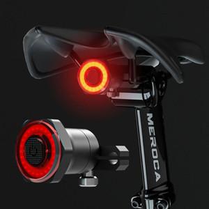 LISM intelligent vélo arrière Feu arrière Start Stop automatique frein IPX6 Charge USB étanche à vélo Queue Taillight vélo lumières LED