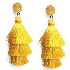 Línea Tassel Pendientes en capas Declaración de estudios Big Dangle Drop Ear Anillos Para Mujeres Joyería De Moda Regalo Will y Sandy